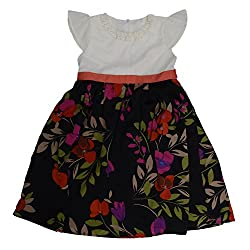 Buttercups Girls' 8 years Faux crepe Party Dress (PFL01D, Multicolour, 28 inches)