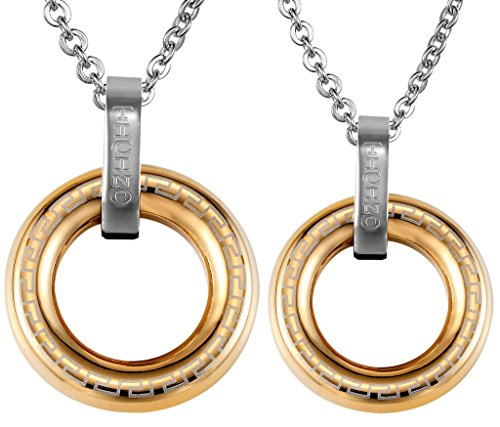 "Couples' Pendant Stainless Steel Golden Circle Figure Design ""TICINO"" Polish with Random Chain by Aienid"