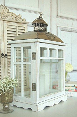 Groe-Landhaus-Laterne-Windlicht-in-Shabby-Chic-wei-aus-Holz-und-Metall