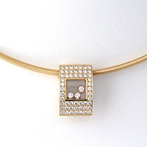 Chopard Square Happy Diamond Yellow Gold Pendant Necklace 793180-0001