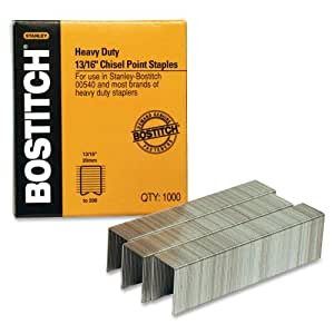 Bostitch Heavy Duty Premium Staples, 130-165 Sheets, 13/16 Inch (20mm) Leg, 1,000 Per Box (SB33513/16HC-1M)