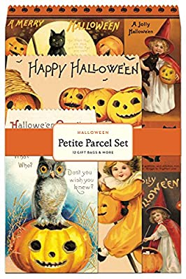Cavallini Papers Petite Parcel Set Halloween, 12 Gift Bags