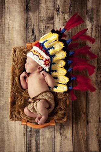 happu-store Fashion Baby Indians Infant Knitted Crochet Costume Photo