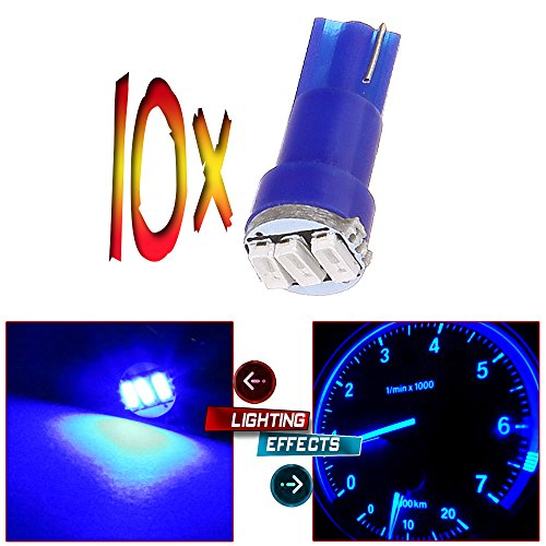 CCIYU 10x T5 Wedge 3-3014 SMD LED Dash Instrument Gauge Light Bulbs 37 70 73 74 Blue (Dash Kit Honda Civic 2000 compare prices)