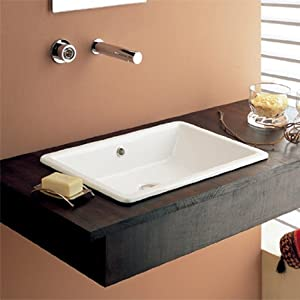 Two Faucet Trough Sink : ... Built-In Bathroom Sink - Trough Sink With Two Faucets - Amazon.com