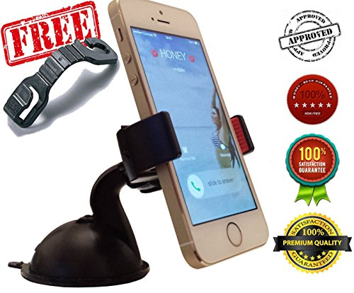 2-for-1 Cell Phone Car Mount – For Free A Car Seat Headrest Hook Hanger – The Best Mount for Windshield & Dashboard You'll Own! – Latest Suction Cup & 2x More Powerful Than Others – Installs in Seconds – Universal Holder Fits All Smartphones Like iPhone 6, 6+ Plus, 5 5S 5C 4 4S, Samsung Galaxy S5 S4 S3, Note 3 2, GPS and More – 100% Money Back Guarantee