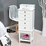 Layla Locking Jewelry Armoire with Valet Box - High Gloss White