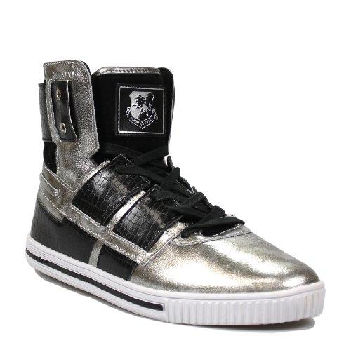 Vlado Footwear Men's New Age Silver/Black Leather Sneakers 12M