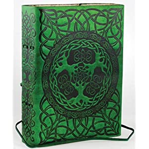 Green Tree of Life Leather Blank Book