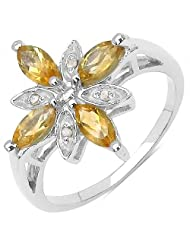 1.02CTW .925 Sterling Silver Citrine & Diamond Ring
