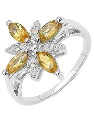 1.02CTW .925 Sterling Silver Citrine & Diamond Ring