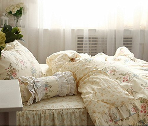 FADFAY Home Textile,Vintage Floral Print Bedding Set,Elegant French Country Style Bedding Set,4Pcs 5