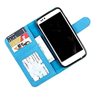 i-KitPit PU Leather Wallet Flip Case Cover For Samsung Galaxy Grand 2 (Sky Blue)