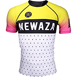 Newaza Apparel In Jiu Jitsu We Trust Short Sleeve Rashguard - Yellow-White - 2X-Large