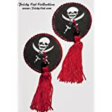 "Hinrei�ende Piraten- Pasties mit Tassels ""Captain Jack"", schwarz / wei� / rotvon ""Feisty Cat"""