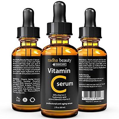 BEST VITAMIN C Serum for Face - 2 fl. oz - 20% organic Vit C + E + Hyaluronic Acid - Professional Facial Skin Care Formula that helps Repair Sun Damage and Fade Age Spots - Radha Beauty