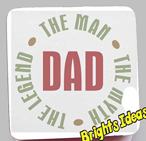 """Produttore con la scritta """"dad The Man."""" Myth. il Legend. Sottobicchiere """"Coffee Tea"""" di our sottobicchieri 8 cm. una festa del papà, compleanno o idea regalo per mamma, papà, con scritta """"grandpa"""", grandad!"""