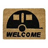JVL Caravan Welcome Coir Coconut  Entrance Door Mat, 36 x 50 cm