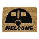 JVL Caravan Welcome Coir Coconut  Entrance Door Mat, 36 x 50 cm