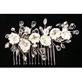 Bridal Handmade Swarovski Crystal With Pearl and Silk Flower Hair comb For Wedding 60274