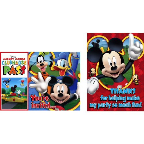 Disney Mickey Mouse Clubhouse Playtime Birthday Invitations and Thank You Notes - 8 each per package