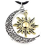 Steampunk - Silver and Gold Crescent Moon and Sun Charm Supernatural Necklace Pendant - silv n gold
