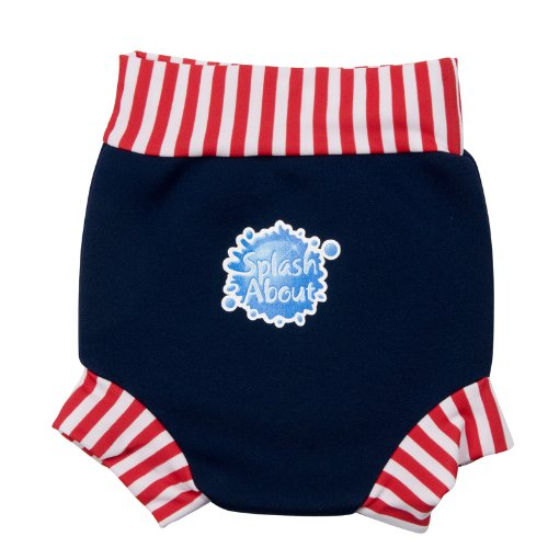 Splash About Neoprene Happy Nappy (Swim Diaper), Navy With Red & White Stripe, Large (6-14 Mths) front-746159