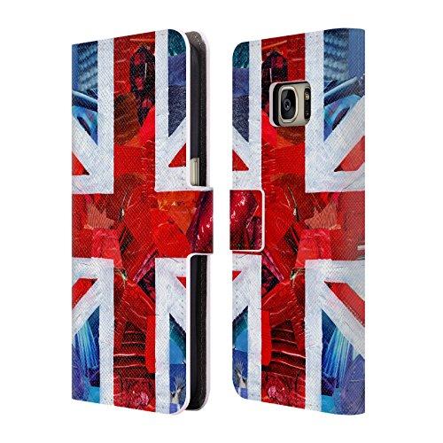Offizielle ArtPopTart Union Jack Fahnen Brieftasche Handyhülle aus Leder für Samsung Galaxy S7