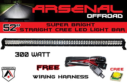 52 Inch 300W Cree Led Light Bar By Arsenal Offroad Tm Spot Flood Combo Beam Lumens 25920Lm Great For Offroad Trucks 4X4 Radius Fog, Jeeps, Truck, Utv Suv 4Wd