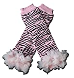 LIGHT PINK ZEBRA CHIFFON RUFFLES Baby Sweet Leggings/Leggies/Leg Warmers for Cloth Diapers - Little Girls & ONE SIZE by &quot;BubuBibi&quot;