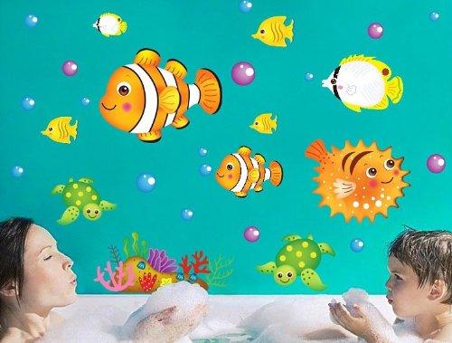 Tojoy Bedroom And Bathroom Wall Decals, Undersea Fish Sea Turtle Wall Sticker front-237231
