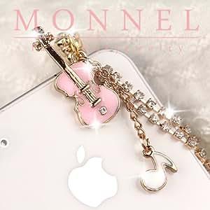 Monnel Ip488 Pink Violin Music Note 3.5mm Ear Cap Anti Phone Dust Plug Phone Charm