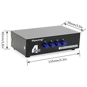 Caja de Interruptores y divisor Panlong de 4 salidas AV RCA y una entrada de cable compuesto video L/R para DVD, STB, consolas de videojuegos