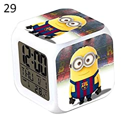 ENJOY LIFE : Cute Digital Multifunctional Alarm Clock With Glowing Led Lights and Minion Bob Kevin Stuart Gru Margo sticker Good Gift For Your Kids Comes With Bonuses Part 3 (19)