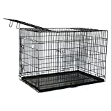 "Black 36"" 3 Door Pet Folding Dog Crate Cage Kennel w/ABS Tray"