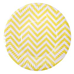 PrettyurParty Chevron Paper Plates (Pack of 10) - Yellow
