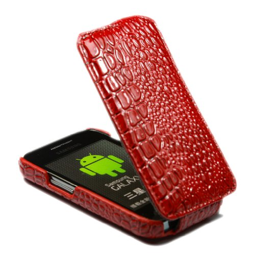 Crocodile Leather Flip Skin Case Cover For Samsung Galaxy Ace S5830 Red front-55693