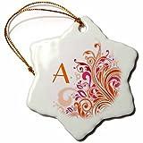 3dRose orn_62514_1 Letter a on Pretty Pink N Orange Swirls Snowflake Porcelain Ornament, 3-Inch