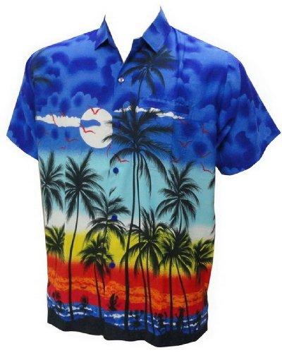 La Leela Hawaiian Print Mens Aloha Beach Shirt For Men L Blue