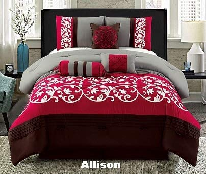 Unique Home 7 Pieces Bedding Comforter Set Floral Patterns on red White and Black with Pillow Sham Cushion Bed Skirt Calking