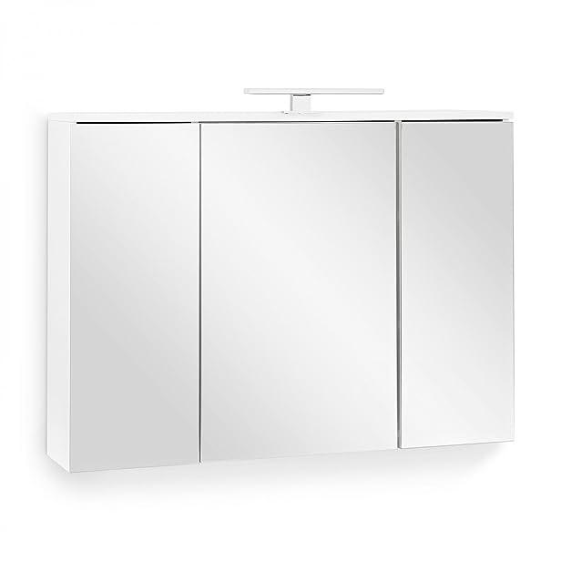 galdem Easy armadietto a specchio bagno specchio armadio armadio mobili da bagno 3ante 6ripiani, illuminazione a LED con presa bianco, Legno, 100x72x20cm