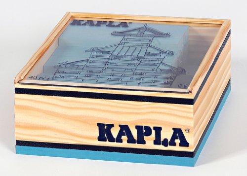 KAPLA C40BC Holzplättchen, 40 Steine, hellblau