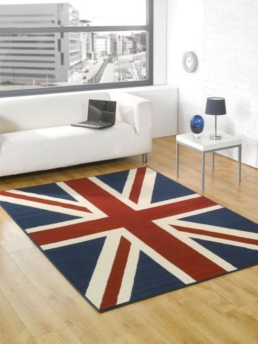 Very Large Buckingham Great Britain Flag Union Jack Design Blue Red White Rug 5'3'' x 7'4'' (160 x 225 cm) Carpet