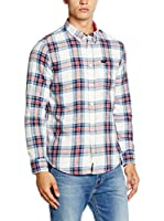 Lee Camisa Hombre Button Down (Blanco / Azul)
