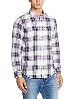 Lee Camisa Hombre Button Down (Blanco / Azul)