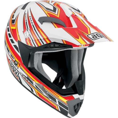 AGV MT-X Point Helmet , Gender: Mens/Unisex, Helmet Category: Offroad, Helmet Type: Offroad Helmets, Primary Color: White, Size: 2XL, Distinct Name: White/Red 902152A0014011