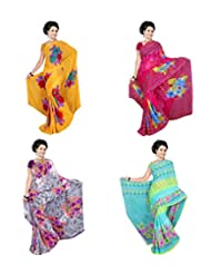 Garg Fashion Combo Of 4 Printed Sarees Combo-3