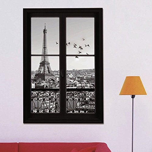 GU GU 3D Scenery of Paris waterproof wall stickers living room decals