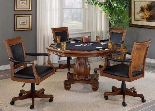 Buy Low Price Hillsdale 5pc Game Dining Table and Arm Chairs Set in Light Cherry Finish (HS-6004GTBC)