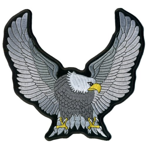 Hot Leathers Upwing Eagle Patch (Silver, 9